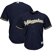 Majestic Men's Replica Milwaukee Brewers Cool Base Alternate Road Navy Jersey