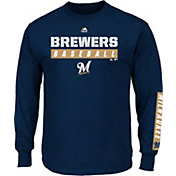 Majestic Men's Milwaukee Brewers Proven Pastime Navy Long Sleeve Shirt