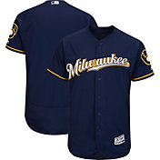 Majestic Men's Authentic Milwaukee Brewers Alternate Road Navy Flex Base On-Field Jersey