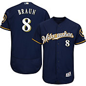 Majestic Men's Authentic Milwaukee Brewers Ryan Braun #8 Alternate Road Navy Flex Base On-Field Jersey