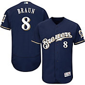 Majestic Men's Authentic Milwaukee Brewers Ryan Braun #8 Alternate Home Navy Flex Base On-Field Jersey