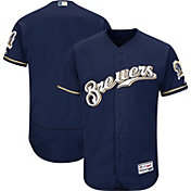 Majestic Men's Authentic Milwaukee Brewers Alternate Home Navy Flex Base On-Field Jersey