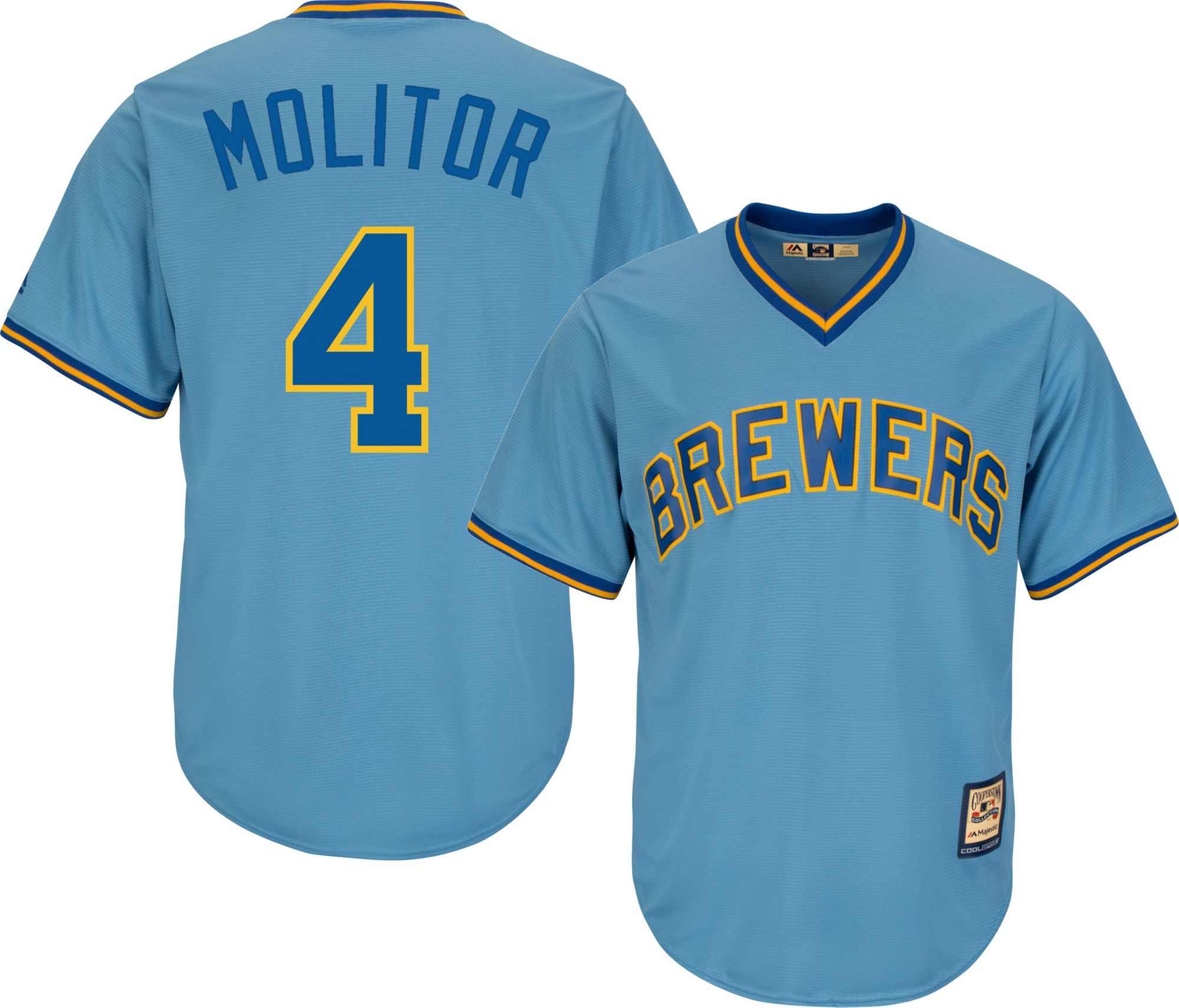 b9c0192b0b7 greece majestic mens replica milwaukee brewers paul molitor cool base light  blue cooperstown jersey . d2f0c