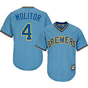 Majestic Men's Replica Milwaukee Brewers Paul Molitor Cool Base Light Blue Cooperstown Jersey