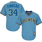 Majestic Men's Replica Milwaukee Brewers Rollie Fingers Cool Base Light Blue Cooperstown Jersey