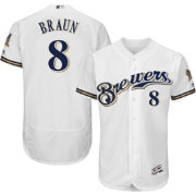 Majestic Men's Authentic Milwaukee Brewers Ryan Braun #8 Home White Flex Base On-Field Jersey