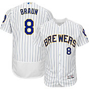 Majestic Men's Authentic Milwaukee Brewers Ryan Braun #8 Alternate White Flex Base On-Field Jersey