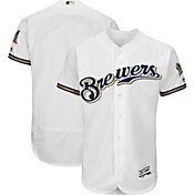 Majestic Men's Authentic Milwaukee Brewers Home White Flex Base On-Field Jersey