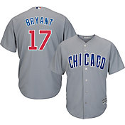 Majestic Men's Replica Chicago Cubs Kris Bryant #17 Cool Base Road Grey Jersey