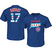 Majestic Men's Chicago Cubs Kris Bryant #17 Royal State Flag T-Shirt