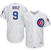 Majestic Men's Authentic Chicago Cubs Javier Baez #9 Home White Flex Base On-Field Jersey