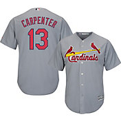 Majestic Men's Replica St. Louis Cardinals Matt Carpenter #13 Cool Base Road Grey Jersey