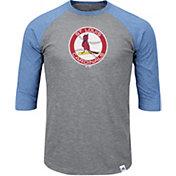 Majestic Men's St. Louis Cardinals Cooperstown Grey/Light Blue Raglan Three-Quarter Sleeve Shirt