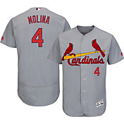 Majestic Men's Authentic St. Louis Cardinals Yadier Molina #4 Road Grey Flex Base On-Field Jersey