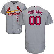 Majestic Men's Custom Authentic St. Louis Cardinals Flex Base Road Grey On-Field Jersey