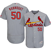 Majestic Men's Authentic St. Louis Cardinals Adam Wainwright #50 Road Grey Flex Base On-Field Jersey