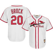 Majestic Men's Replica St. Louis Cardinals Lou Brock Cool Base White Cooperstown Jersey