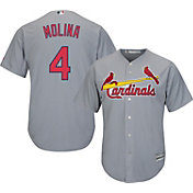 Majestic Men's Replica St. Louis Cardinals Yadier Molina #4 Cool Base Road Grey Jersey