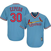 Majestic Men's Replica St. Louis Cardinals Orlando Cepeda Cool Base Light Blue Cooperstown Jersey