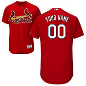 Majestic Men's Custom Authentic St. Louis Cardinals Flex Base Alternate Red On-Field Jersey