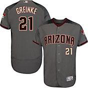 Majestic Men's Authentic Arizona Diamondbacks Zack Greinke #21 Flex Base Road Grey On-Field Jersey