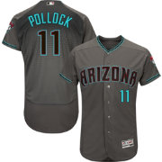 Majestic Men's Authentic Arizona Diamondbacks A.J. Pollock #11 Flex Base Alternate Road Grey On-Field Jersey