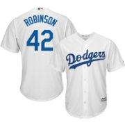 Majestic Men's Replica Brooklyn Dodgers Jackie Robinson #42 Cool Base Home White Jersey
