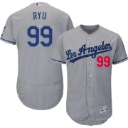 Majestic Men's Authentic Los Angeles Dodgers Hyun-jin Ryu #99 Road Grey Flex Base On-Field Jersey