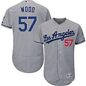Majestic Men's Authentic Los Angeles Dodgers Alex Wood #57 Road Grey Flex Base On-Field Jersey
