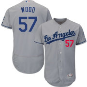 Majestic Men's Authentic Los Angeles Dodgers Alex Wood #57 Road Grey Flex Base On-Field Jersey