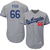 Majestic Men's Authentic Los Angeles Dodgers Yasiel Puig #66 Road Grey Flex Base On-Field Jersey