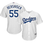 Majestic Men's Replica Los Angeles Dodgers Orel Hershiser #55 Cool Base Home White Jersey