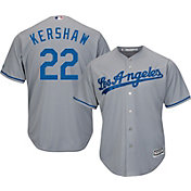 Majestic Men's Replica Los Angeles Dodgers Clayton Kershaw #22 Cool Base Road Grey Jersey