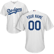 Majestic Men's Custom Cool Base Replica Los Angeles Dodgers Home White Jersey