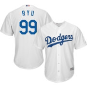 Majestic Men's Replica Los Angeles Dodgers Hyun-jin Ryu #99 Cool Base Home White Jersey