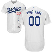 Majestic Men's Custom Authentic Los Angeles Dodgers Flex Base Home White On-Field Jersey