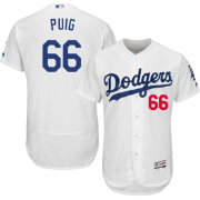 Majestic Men's Authentic Los Angeles Dodgers Yasiel Puig #66 Home White Flex Base On-Field Jersey