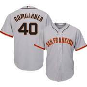 Majestic Men's Replica San Francisco Giants Madison Bumgarner #40 Cool Base Road Grey Jersey