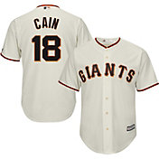 Majestic Men's Replica San Francisco Giants Matt Cain #18 Cool Base Home Ivory Jersey