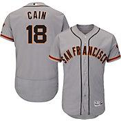Majestic Men's Authentic San Francisco Giants Matt Cain #18 Road Grey Flex Base On-Field Jersey