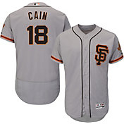 Majestic Men's Authentic San Francisco Giants Matt Cain #18 Alternate Road Grey Flex Base On-Field Jersey
