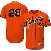 Majestic Men's Authentic San Francisco Giants Buster Posey #28 Alternate Orange Flex Base On-Field Jersey