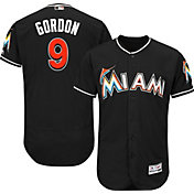Majestic Men's Authentic Miami Marlins Dee Gordon #9 Alternate Black Flex Base On-Field Jersey