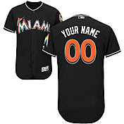 Majestic Men's Custom Authentic Miami Marlins Flex Base Alternate Black On-Field Jersey