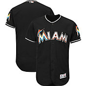 Majestic Men's Authentic Miami Marlins Alternate Black Flex Base On-Field Jersey
