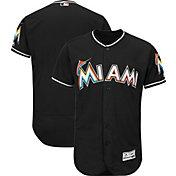 Majestic Men's Authentic Miami Marlins Alternate Black Flex Base On-Field Jersey
