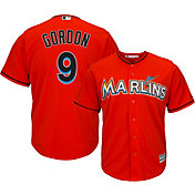 Majestic Men's Replica Miami Marlins Dee Gordon #9 Cool Base Alternate Orange Jersey