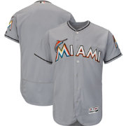 Majestic Men's Authentic Miami Marlins Road Grey Flex Base On-Field Jersey
