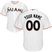 Majestic Men's Custom Cool Base Replica Miami Marlins Home White Jersey