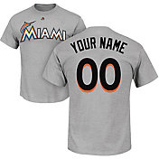 Majestic Men's Custom Miami Marlins Grey T-Shirt